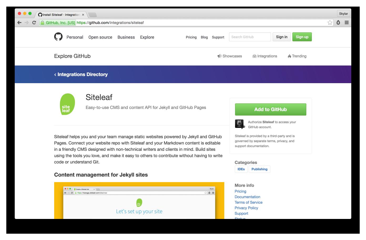 GitHub Integrations Directory - Siteleaf
