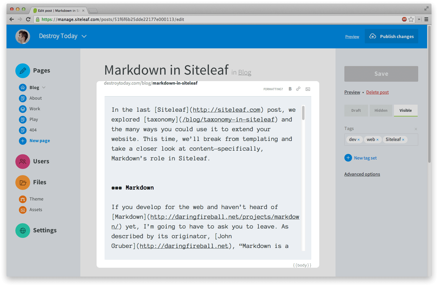 Markdown in Siteleaf